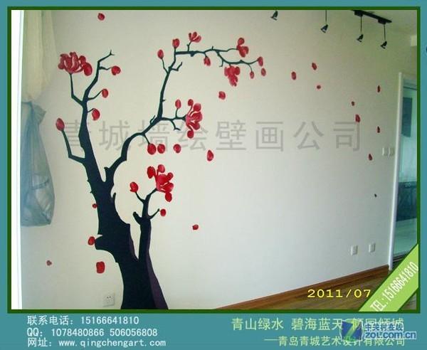 手绘电视背景墙-家装--电视背景墙-zol相册